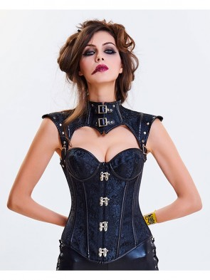 Women's Steampunk Black Steel Boned Jacquard Overbust Corset with Decorative Cap Sleeve Shrug