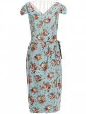 1950's Vintage V Neckline Floral Print Casual Dress