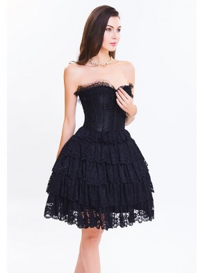 Victorian Elegant Sweetheart Neck Strapless Lace Overlay A-line Corset Dresses Black