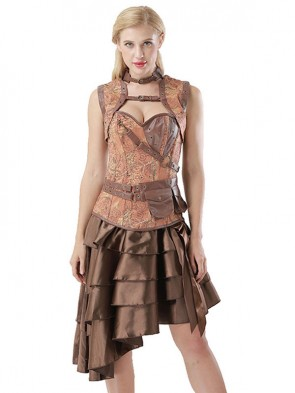 6dfd7467b70a0 Steampunk Brown Corset with Sleeveless Jacket and Vintage Satin High-low  Ruffles Skirt Sets ...