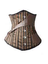 Brown Leather Side Buckle Satin Stripe Steel Bone Steampunk Underbust Corsets