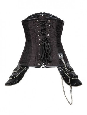Steampunk Steel Boned Black Jacquard Hipster Underbust Corset with Chain