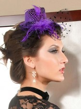 Purple Mini Top Hat with Feather