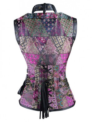 Steel Boned Steampunk Gothic Vintage Corset with Jacket and Pouches