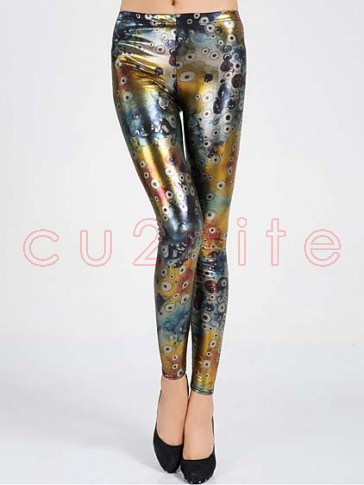 Glossy Cells Print Leggings