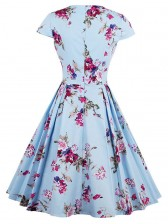 Classical Vintage Women Short Sleeves Floral Print Swing Dress