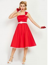 Red One Shoulder Women's Midi Swing Dress