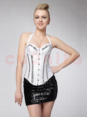Sequinned Strap Burlesque Corset - White