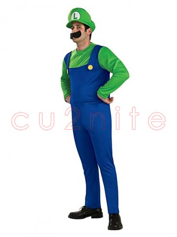 Super Mario Bros Luigi Mens Costume