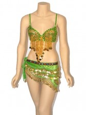 Deluxe Sequined Belly Dancer Bra and Hip Scarf Set - Green