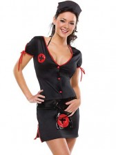 Knock Out Nurse Costume with Bra and Crotchless Panty