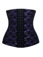 9 Steels Fashion Purple and Black Lace Waist Cincher Plus Size Bustier Corset