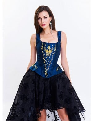 Victoria Gothic Steel Bone Brocade Embroidery Shoulder Strap Tank Overbust Corset Blue-Golden