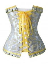 Fashion Silver and Yellow Jacquard Ruffles Busk Closure Overbust Corset