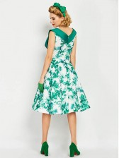Summer Style Green Sweetheart Invisible Zipper Sleeveless Midi Women's Dress