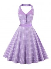 Vintage Halter Polka Dot Summer Daily Swing Dress