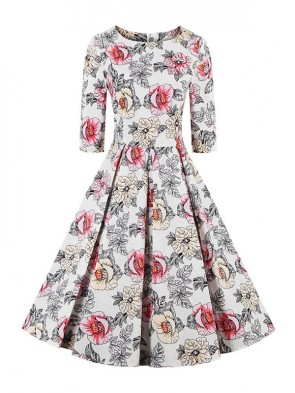 1950's Vintage Half Sleeve Floral Print Casual Cocktail Party Swing Dress
