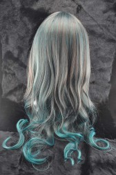 Peacock Colour Long Curly Wig