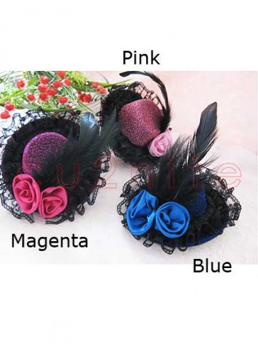 Mini Top Hat with Feather and Lace