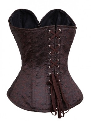 Vintage Coffee Steel Bone Sweetheart Neckline Jacquard Weave Unique Pattern Corset