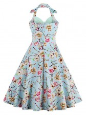 Vintage Sweetheart Floral Print Halter Cocktail Party Dress Light Green