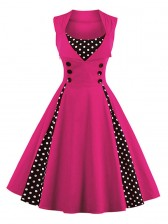 Vintage Rockabilly Polka Dot Print Sleeveless Casual Cocktail Party Dress Pink