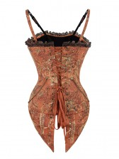 Steampunk Vintage Steel Boned Red Jacquard Lace Trim Overbust Corset