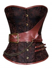 Steel Boned Retro Brown Jacquard Buckle Overbust Corset