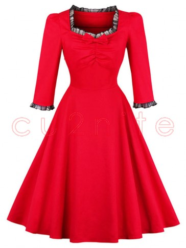Women's Vintage Red Square Neck 3/4 Length Sleeve A-Line Swing Dress