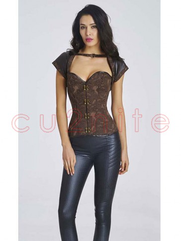 Spiral Steel Boned Steampunk Vintage Brown Corset with Jacket and Belt