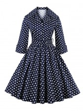 Women's Polka Dot Half Sleeve Bow Vintage Casual Swing Dress With Blet