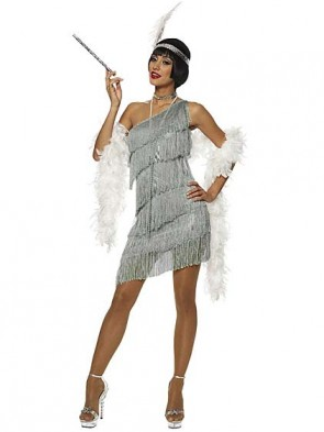 Dazzling Grey Flapper Costume with White Feather Boa