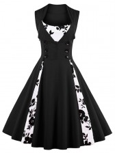 Vintage Rockabilly Floral Print Sleeveless Casual Cocktail Dress Black