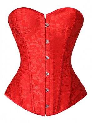Noble Elegant Red Jacquard Weave Busk Closure Overbust Corset