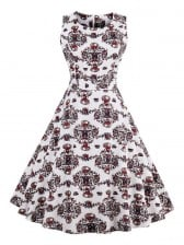 1950's Vintage Floral Print Cotton Sleeveless Dress