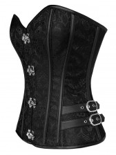 Vintage Black Steel Bone Embroidery Design Busk Closure Overbust Corset