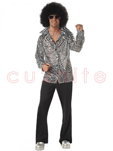 60s 70s Groovy Disco Mens Costume with Afro Wig