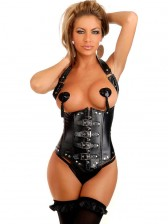 Faux Leather Buckles Underbust Corset Black