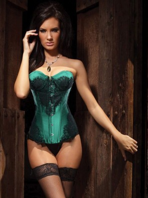 Classical Lace Overlay Corset Green