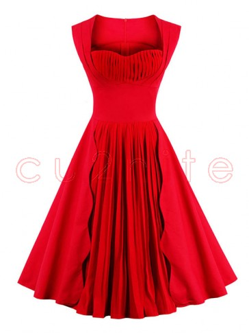 1960's Vintage Red Pleated Cocktail Bridesmaid Swing Dress