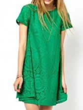 Green Round Neck Short Sleeve Lace Dress