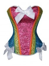 Fashion Colorful Sequins with Bows Trim Corset