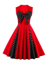 Vintage Red Sweetheart Neck Cocktail Bridesmaid Dress