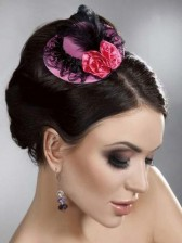 Burlesque Style Mini Top Hat - Pink