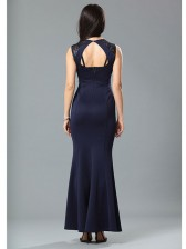 Graceful Blue Sequined Evening Party Dress