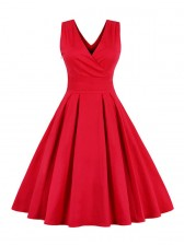 Women's 1950's Vintage Deep V Casual Party Cocktail Dress