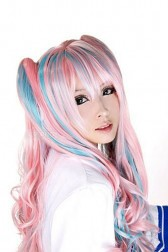 Lolita Pink and Blue Long Wave Curly Cosplay Anime Wig