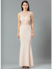 Flesh Lace Bodycon Evening Party Maxi Dress