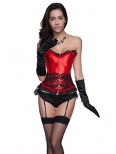 Glamourous Sexy Red Artificial Silk Lace Trim Overbust Corset