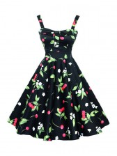 Charming 1950's Black Vintage Cheery Print Casual Swing Dress